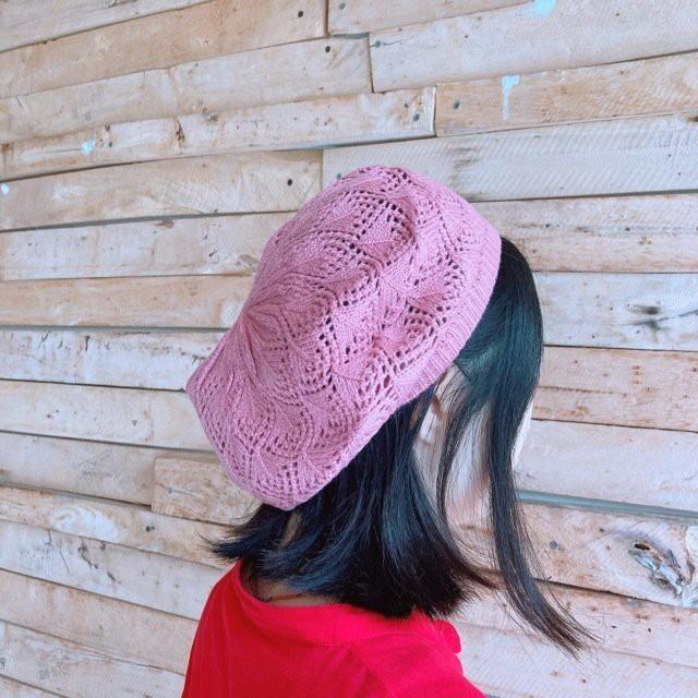 クロシェベレー帽 ピンク