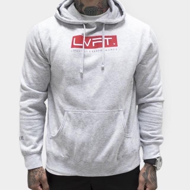 LIVE FIT Bar Hoodie- Heather Grey/Red