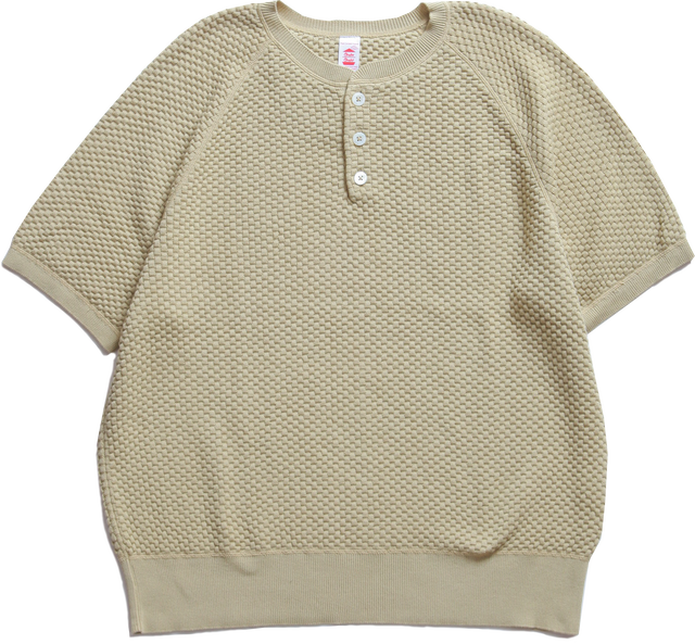 CC HENRYNECK WAFFLE KNIT TEE-OLIVE
