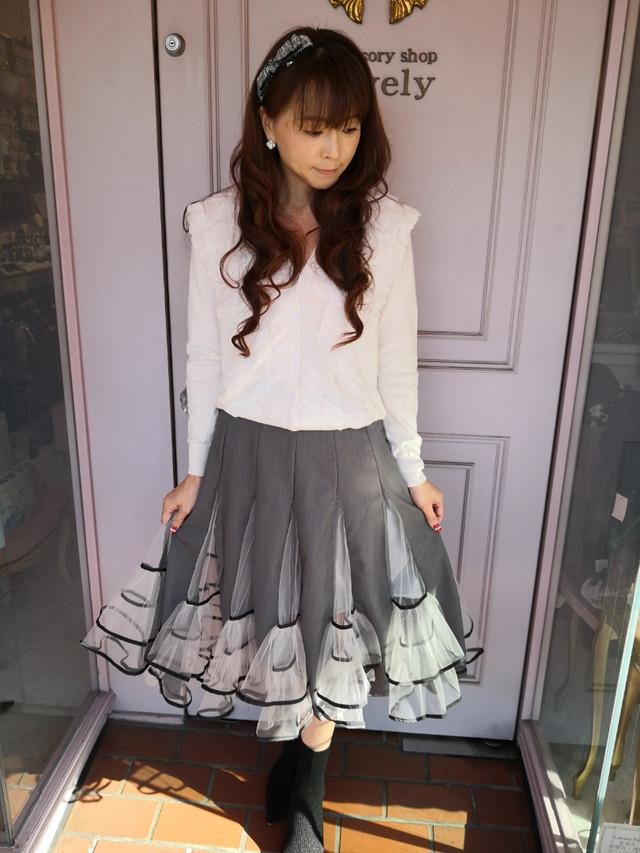 【ボトムス】チュール スカート・グレー