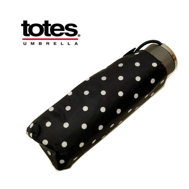 TOTES TITANコンパクト 折畳み傘 ブラック・水玉ホワイト 耐風 70MPH