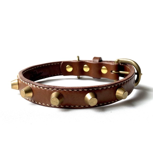 Leather Collar【 SPIKE 20mm ( スパイク ) 】チョコ