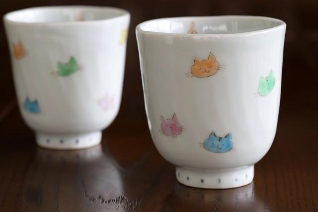 藍水 猫 湯呑(大)(小) うつわ藍水 波佐見焼