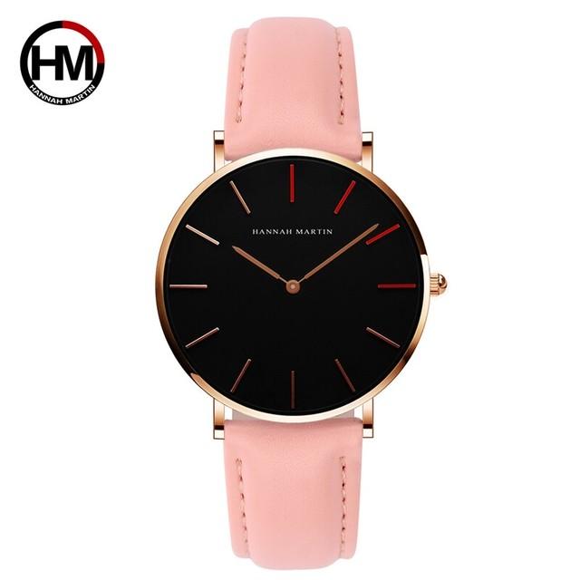 高品質の日本クォーツムーブメント防水デザインクリエイティブな女性の時計ローズゴールドブラックレザーレディース時計36mm1230-HR36-FF