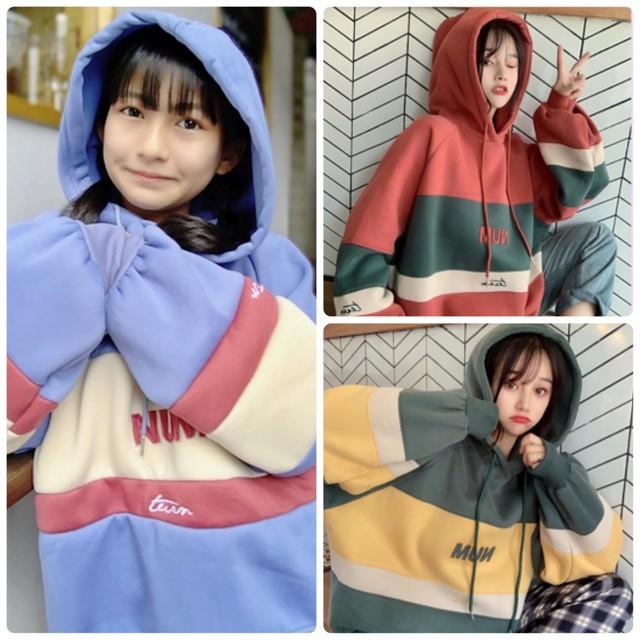 【Mukuコラボ】  M L XL 3カラー★ トレーナー プルオーバー 刺繍 フード付き  カジュアル
