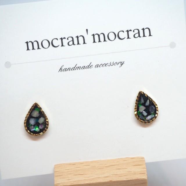 【mocran'mocran】ミニピアス/イヤリング 黒・しずく