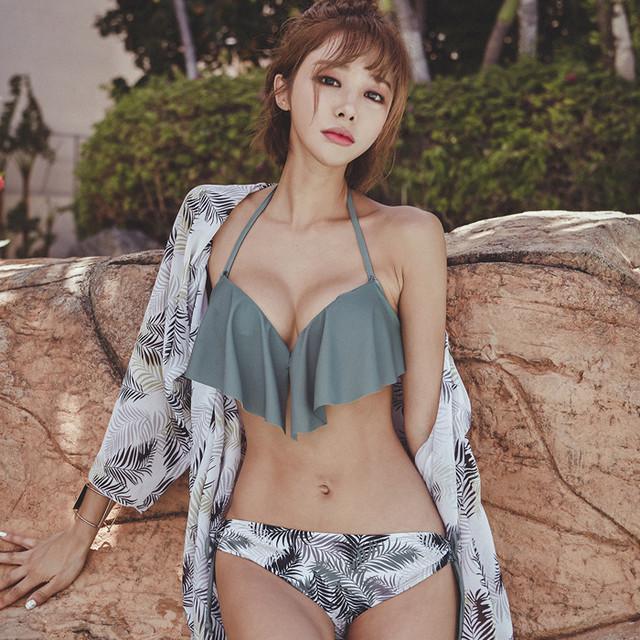韓国 ビキニ かわいい フリル 水着 レディース MY7019