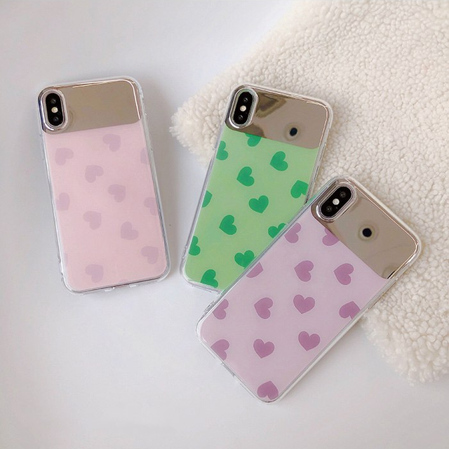 【オーダー商品】Colorful love heart mirror iphone case
