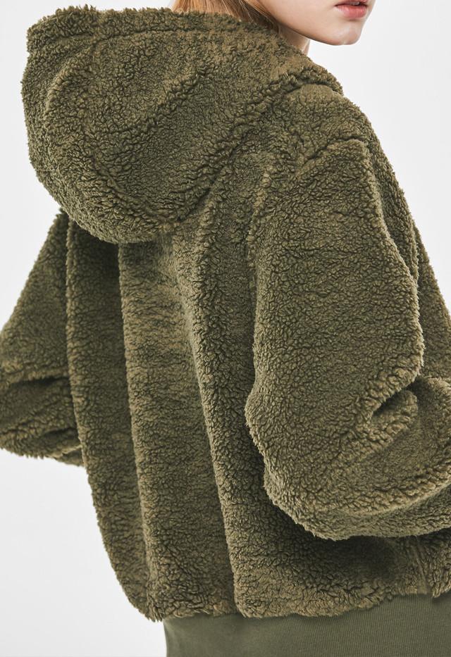 Teddy Hoodie Fleece : Khaki