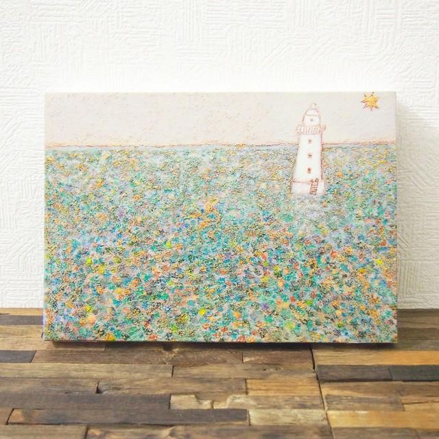 *海に浮かぶ灯台の絵 (複製) 木製パネルサイズ変更可