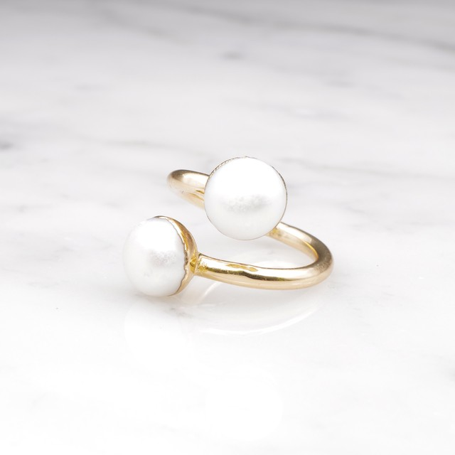DOUBLE PEARL OPEN RING 03