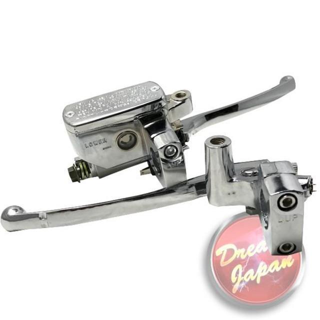 バイク 25mmハンドル用(1インチ) ブレーキ クラッチレバー マスターシリンダー セット メッキ /汎用/ドラッグスター/バルカン/シャドウ