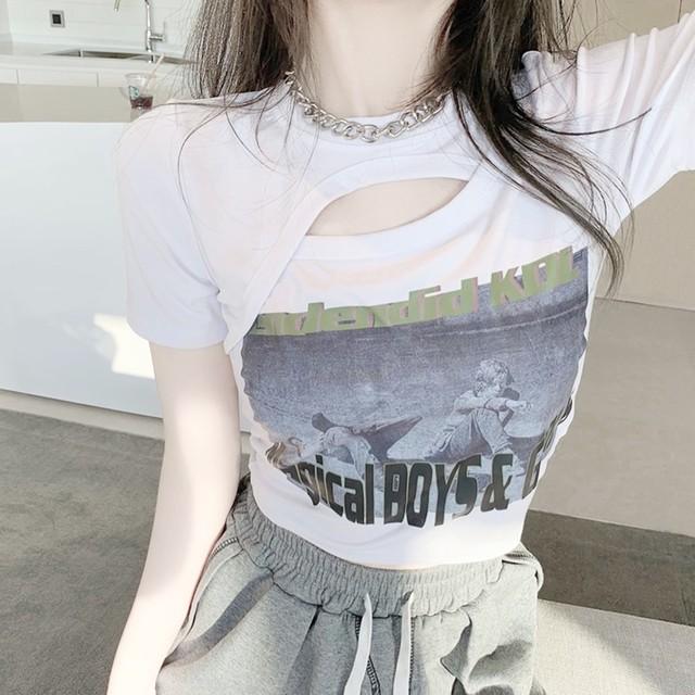 Tシャツ オープンバスト プリント ショート丈 2色 B8056