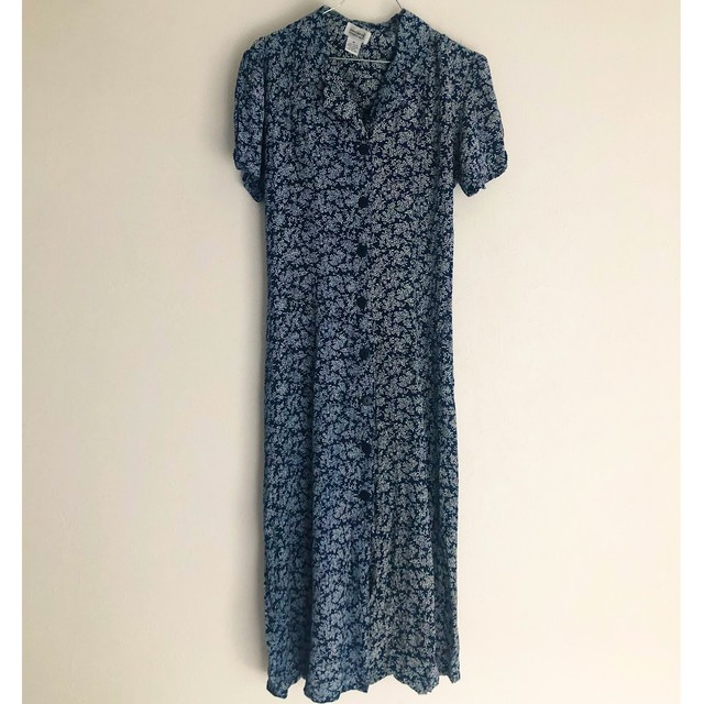 navy flower maxi one-piece