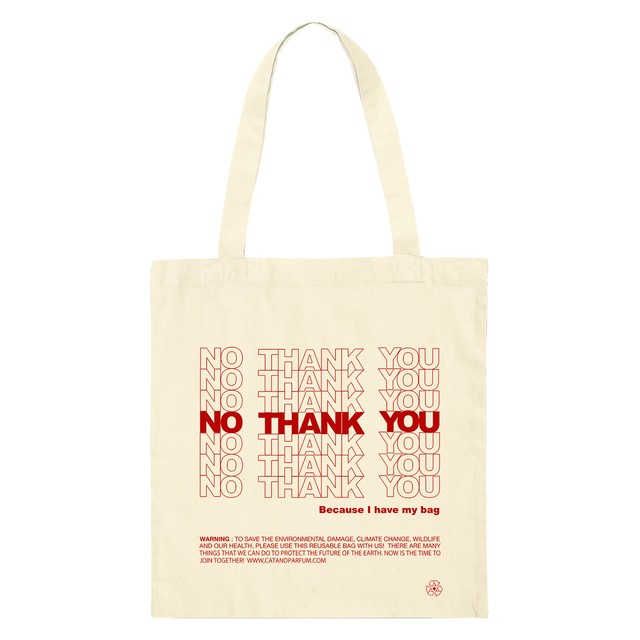 【Cat & Parfum】NO THANK YOU Eco Tote Bag