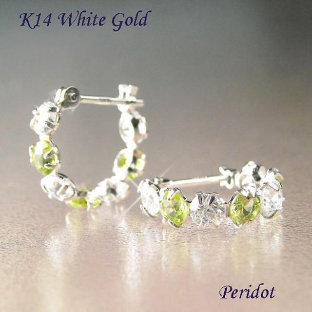 ピアス フープ ペリドット 8月誕生石 ホワイトゴールド 14金 CZダイヤモンド