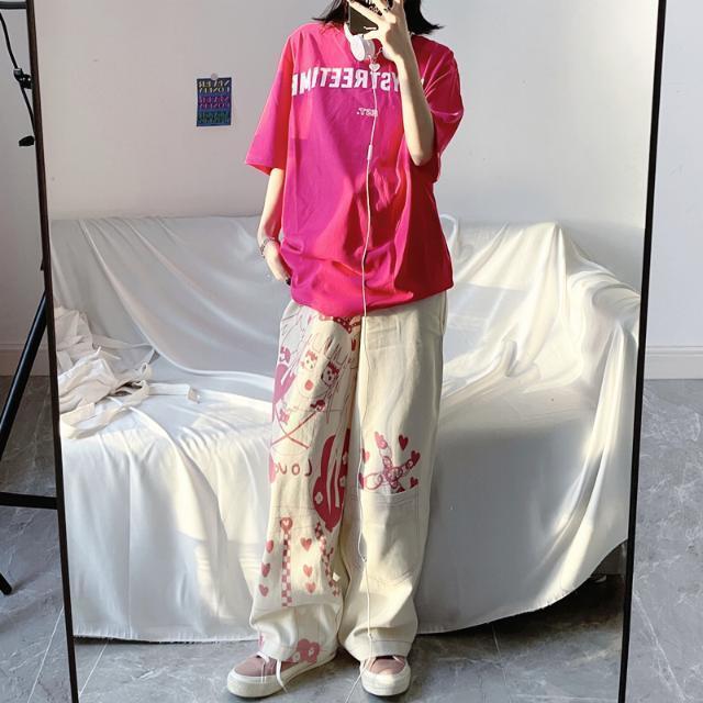 【ボトムス】ストリート系アニメ図柄プリントファッションカジュアルパンツ49092967