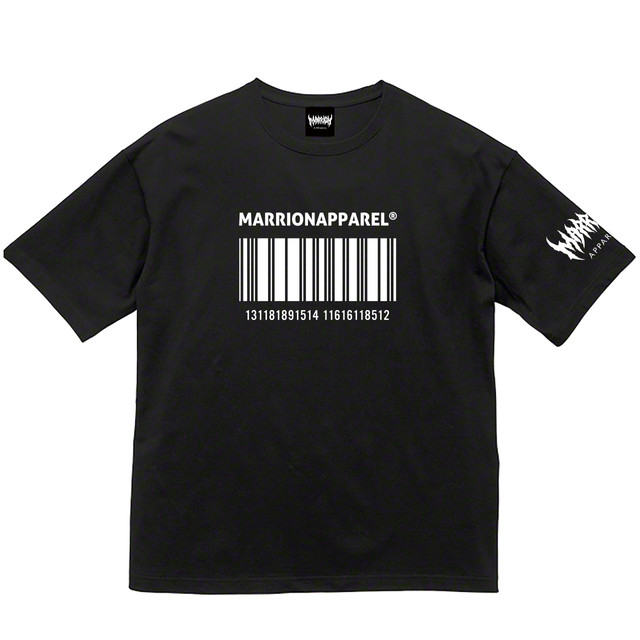 【Cotton100%】BAR CODE13 Big silhouette Tee  (Black×White)