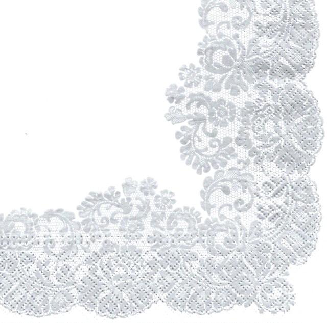 【TETE a TETE】バラ売り2枚 ランチサイズ ペーパーナプキン LACY FRAME シルバー