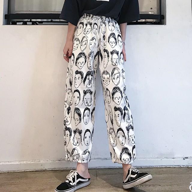【bottoms】ファッション合わせやすい細見えカートゥーンプリントカジュアルパンツ