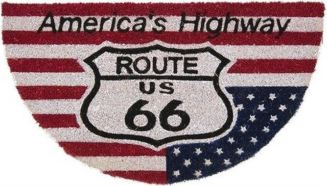 玄関マット】コイヤーマット[ROUTE66:半円 4059USA]<アメ雑>route66  USA ROUTE66アメリカ 国旗