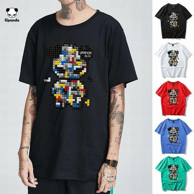 【5カラー】ユニセックス メンズ/レディース 半袖 Tシャツ テトリスパンダ パンダプリント UPANDA ストリート系 / UPANDA's simple breathable T-shirt (DCT-597811074103)