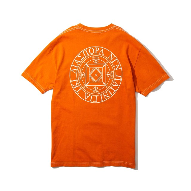 DIASPORA SKATEBOARDS Dyed Magic Circle Tee Orange