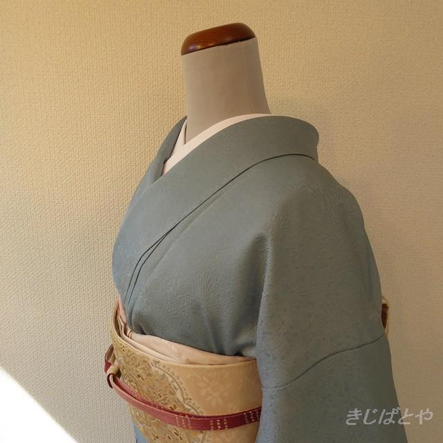 正絹塩沢紬 紺にグレーの小紋 単衣