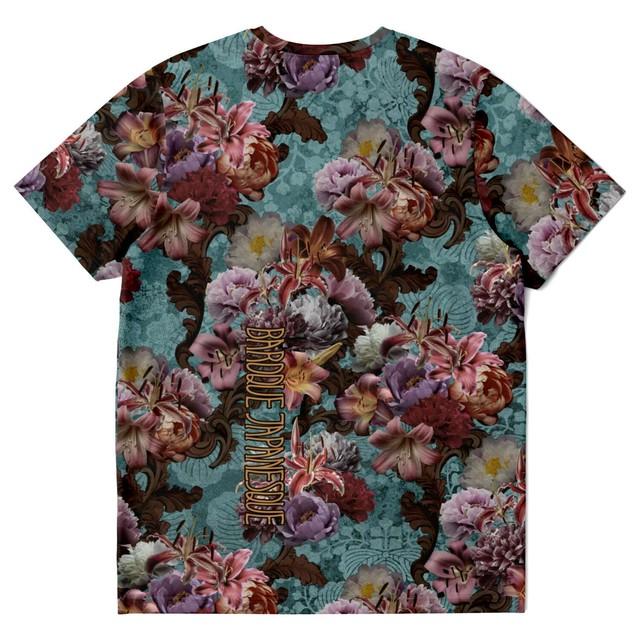 芍薬牡丹百合 ブルー ユニセックスTシャツ