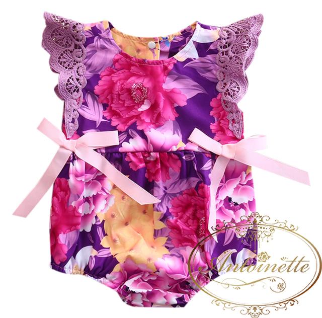 紫 リボン purple baby kids wear 花柄 フラワー プリント ベビー 赤ちゃん 服 子供服 こども リゾート 旅行 かわいい 南国 カバーオール ロンパース 夏 バカンス