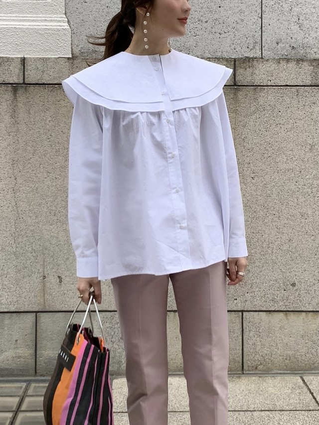 sailor double collar blouse / white (即納)