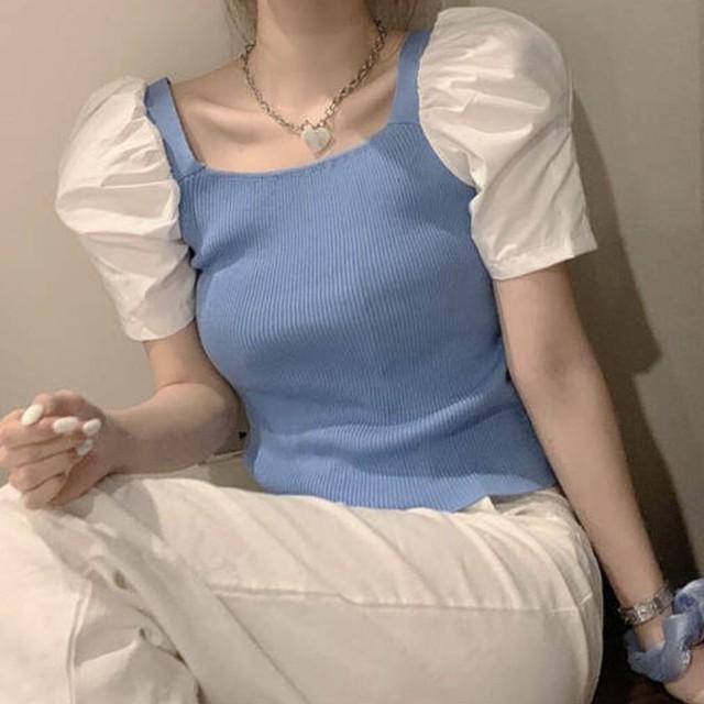 【送料無料】 袖デザインがかわいい♡ きれいめ カジュアル スクエアネック パフスリーブ 異素材MIX トップス