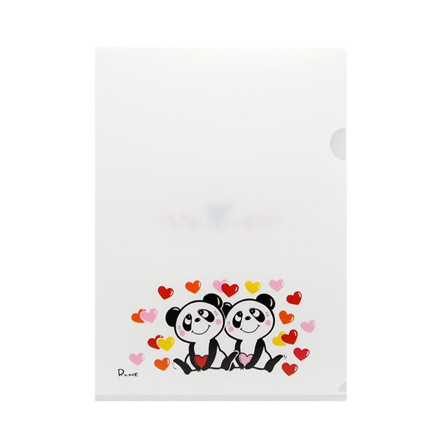 クリアファイル Panda with many hearts