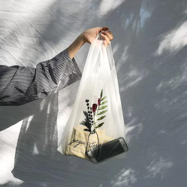 刺繍 シースルーバッグ 半透明 エコバッグにも