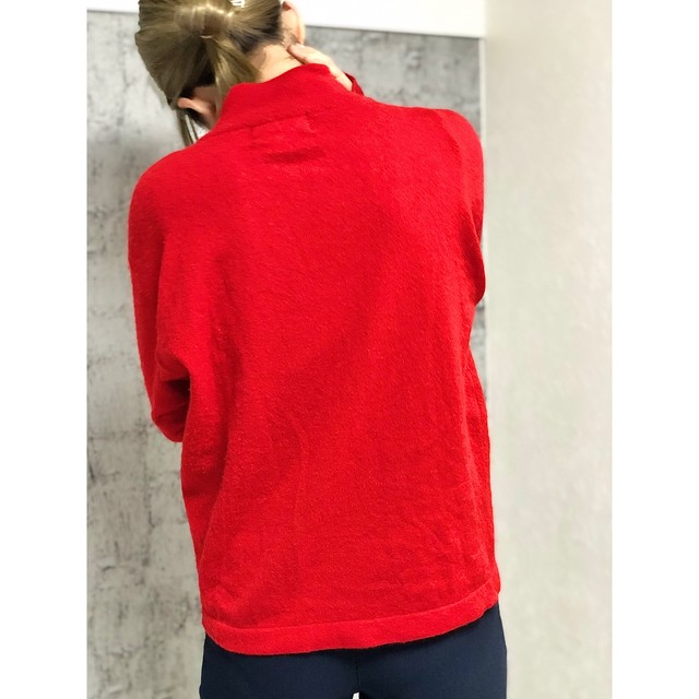 Cashmere red moc neck knit