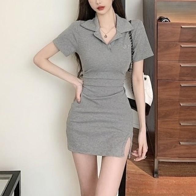 【6/25まで30%OFF!!】ミニワンピース ポロシャツ シンプル グレー ワンカラー B7969
