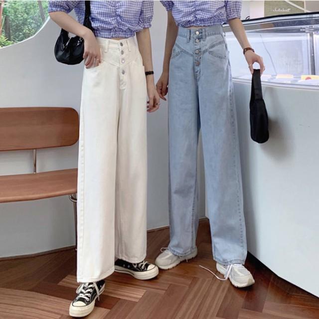 【送料無料】 脚長シルエット♡ カジュアル ハイウエスト カラー デニム ワイドレッグ パンツ ズボン ジーパン