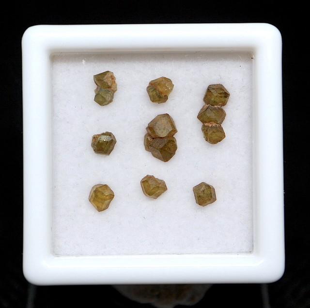 レア!【鉱物標本セット】デマントイド カリフォルニア産 ケース入り スクエア小 #2 TZ067 原石 宝石 天然石 鉱物セット