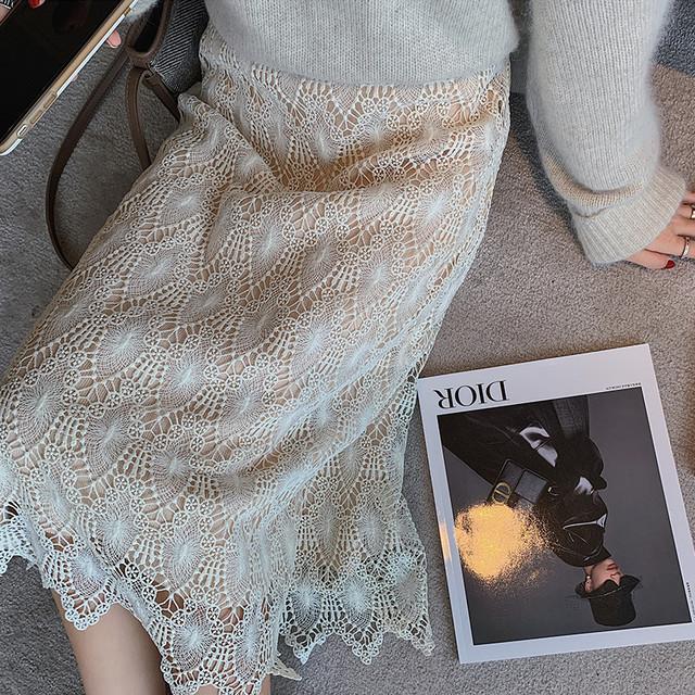 【bottoms】レースシック2WAY女性ラインスカート
