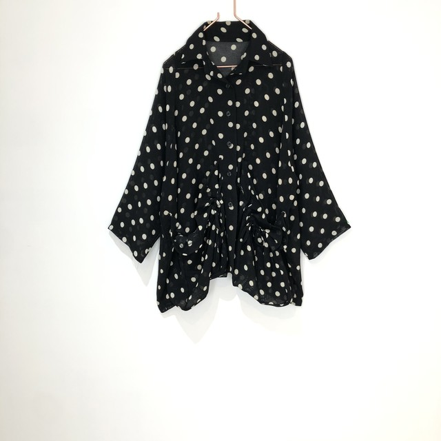 ◼︎90s dot pattern mesh shirt jacket from U.S.A.◼︎