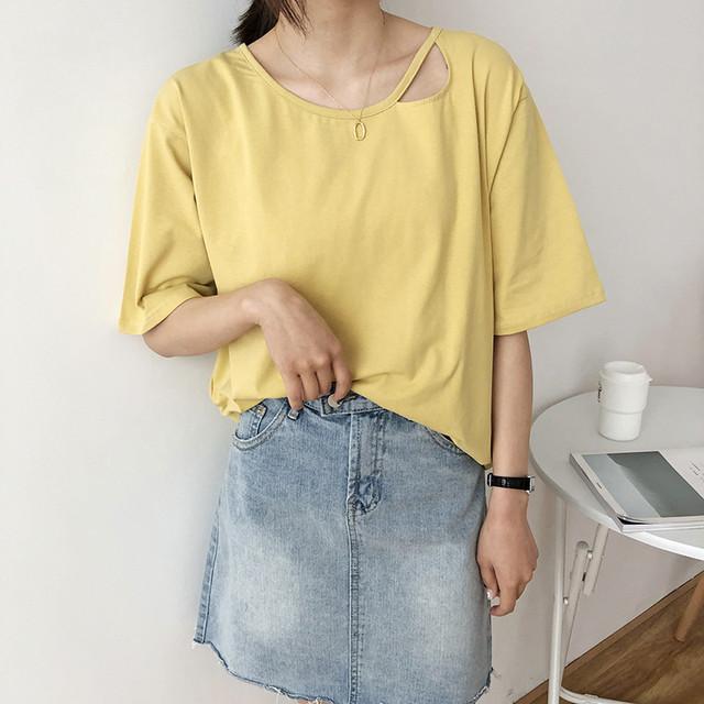 ◆即納◆アシメ ドロップショルダー ゆるTシャツ V45-60