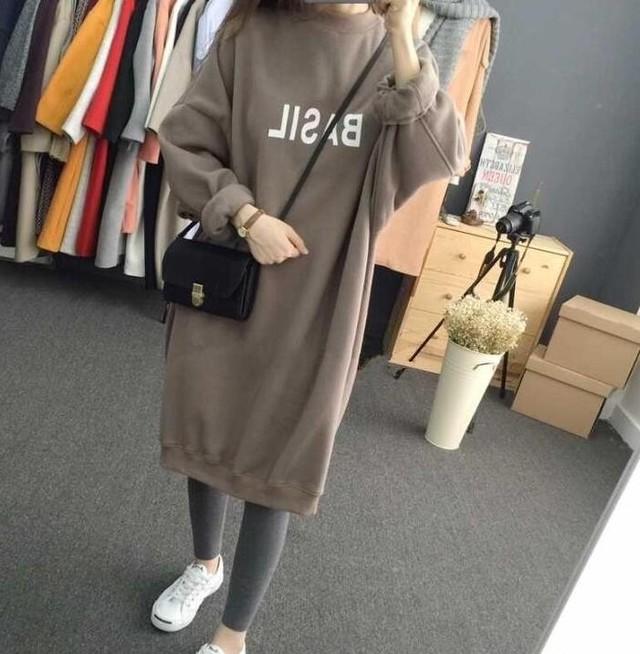 【dress】Round neck long sleeve print casual dress