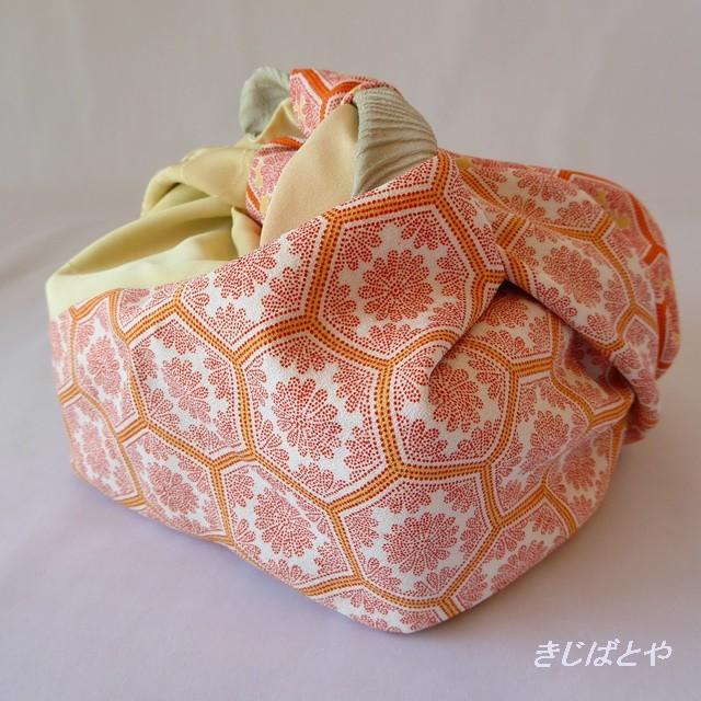 あずま袋 女郎花色とオレンジの亀甲の切り替え