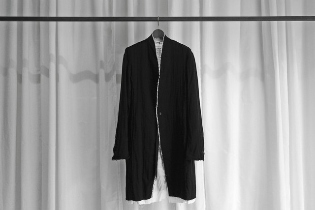 ASKYY / LAYERED LONG JACKET / BLK×WHT