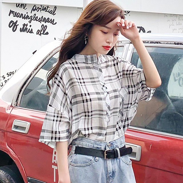 シャツ ブラウス トップス レディースファション 着痩せ 可愛い デート 韓国風 フリーサイズ チェック柄