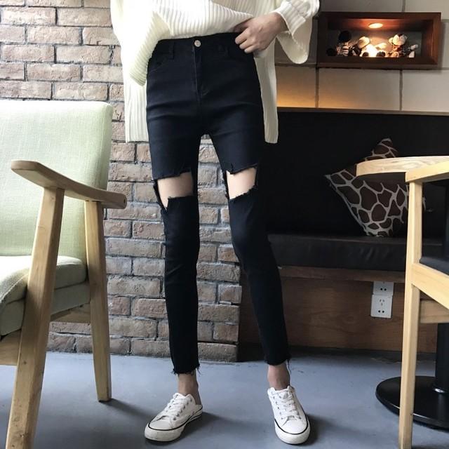 【bottoms】ファッション気質chic人気無地ダメージ加工デニムパンツ