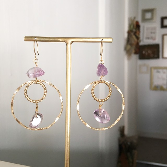 【2月の誕生石】Amethyst with double circle earrings