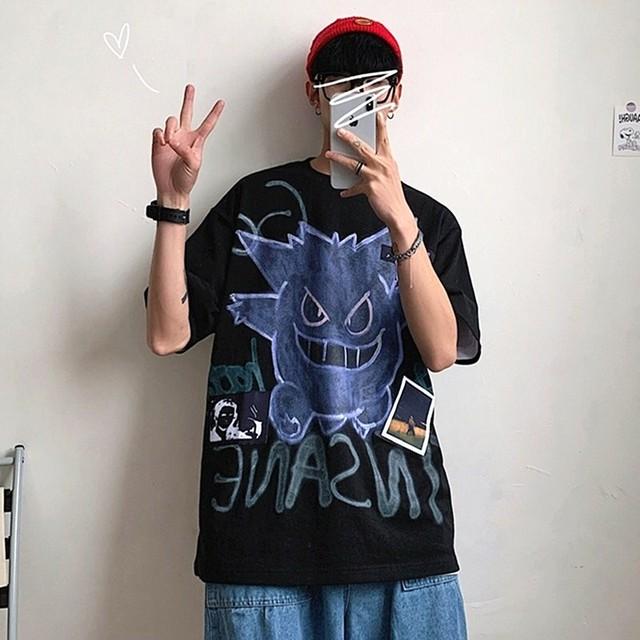 【トップス】悪魔半袖シンプルストリート系ファッションプリント図柄Tシャツ41932266