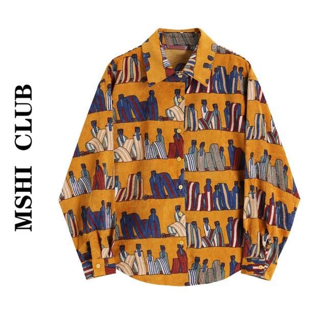 【MSHI CLUBシリーズ】★シャツ★ トップス プリント レトロ イエロー S M L ファション デート 合わせやすい