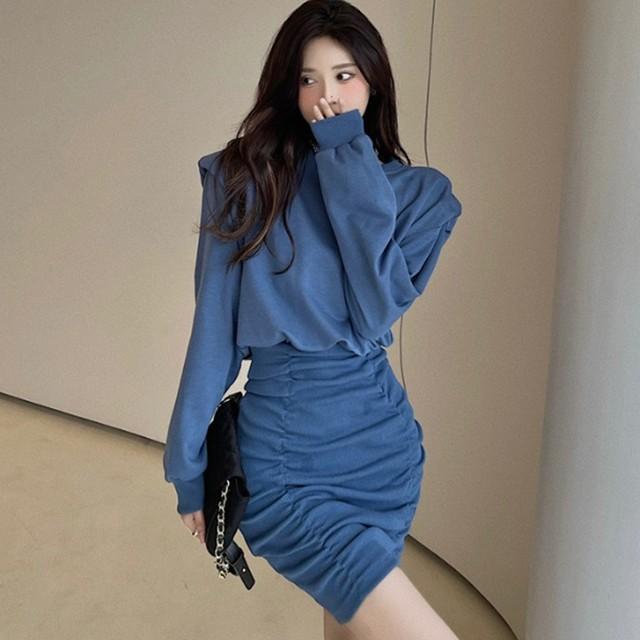 【ワンピース】絶対欲しい セクシー 無地 ギャザー飾り プリーツスカート ワンピース51820599